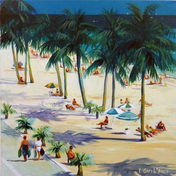 """""""Beach"""" - Acrylique sur toile 50 cm x 50 cm"""