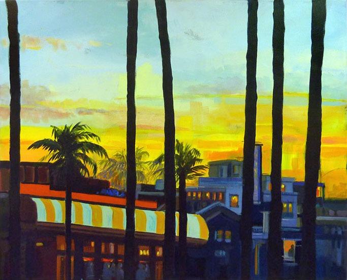 """""""Palm trees and sunset"""" - Acrylique sur toile 100 cm x 80 cm"""