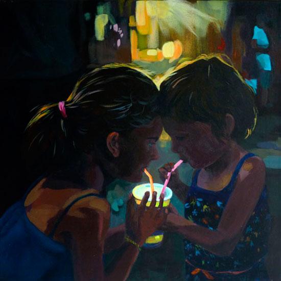 """""""Anna et Ella"""" - Acrylique sur toile – 50 cm x 50 cm"""