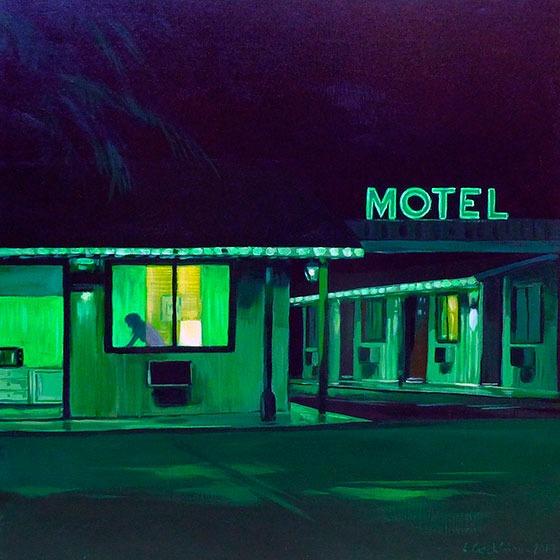 """""""Green Motel"""" - Acrylique sur toile – 50 cm x 50 cm"""