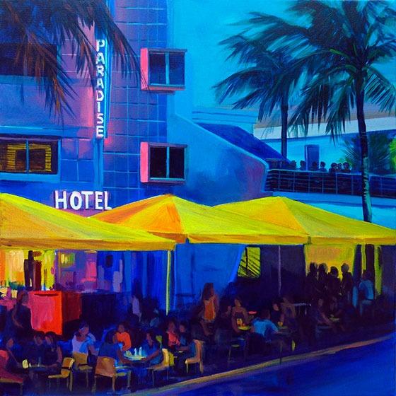 """""""Hotel Paradise """" - Acrylique sur toile – 50 cm x 50 cm"""