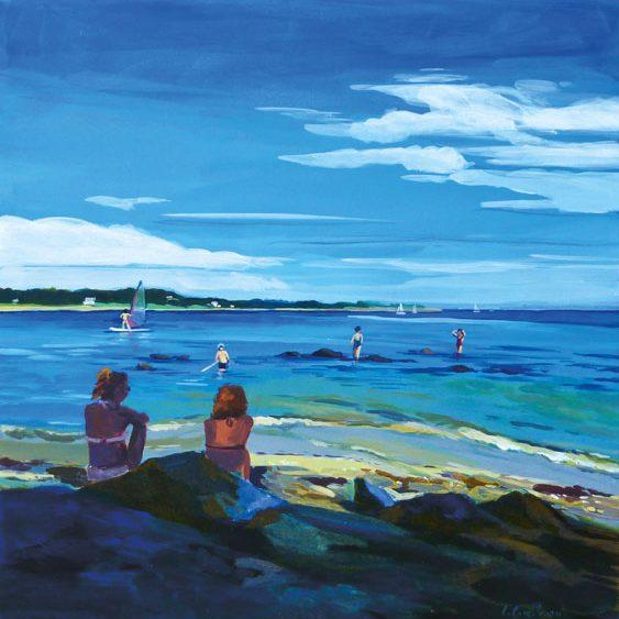 """""""La Trinité-sur-Mer"""" - Acrylique sur bois 40 cm x 40 cm"""