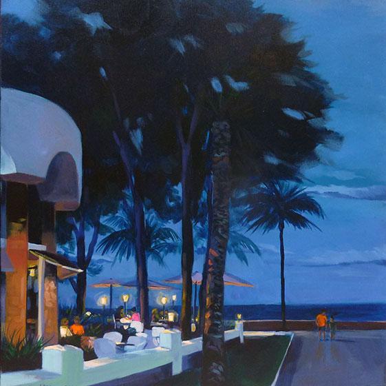 """""""Miami-platja 2 """" - Acrylique sur toile – 50 cm x 50 cm"""