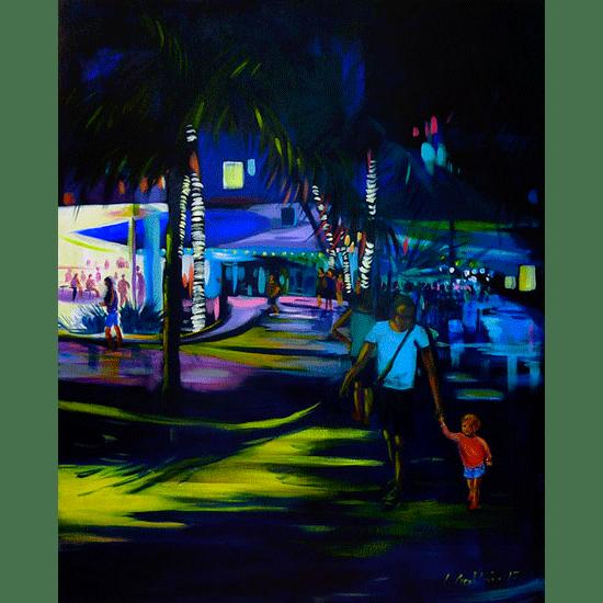 """""""Night street 1"""" - Dyptique - Acrylique sur toile 100 cm x 80 cm"""