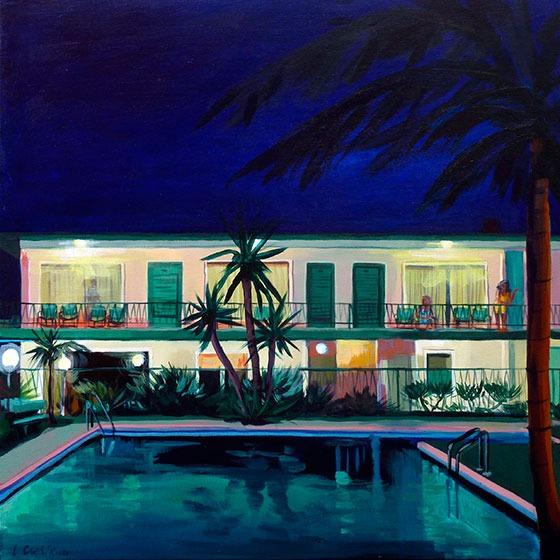 """""""Piscine du Motel"""" - Acrylique sur toile – 50 cm x 50 cm"""