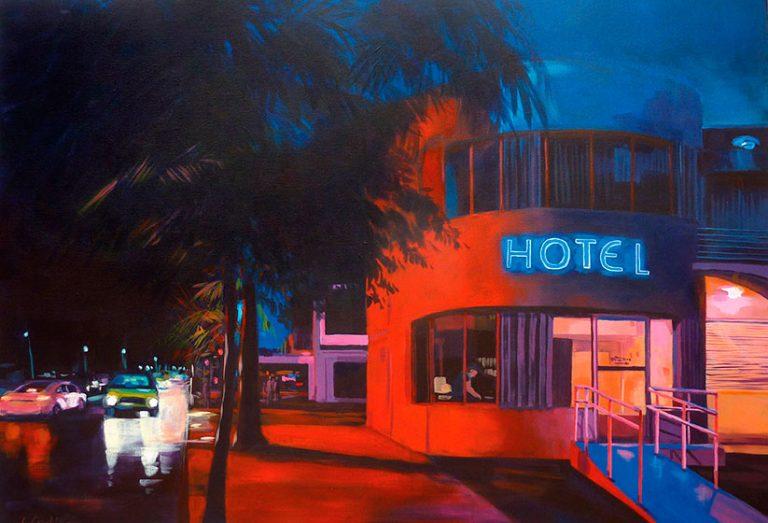 """""""Red Hotel"""" - Acrylique sur toile – 100 cm x 120 cm"""