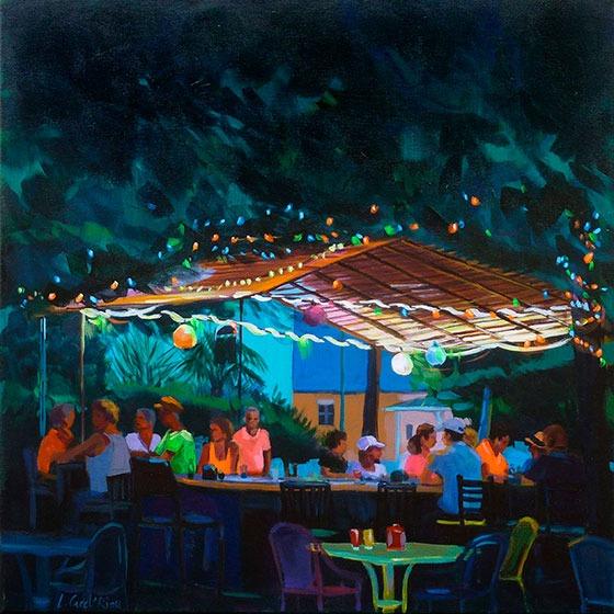 """""""Soirée lampions"""" - Acrylique sur toile – 50 cm x 50 cm"""