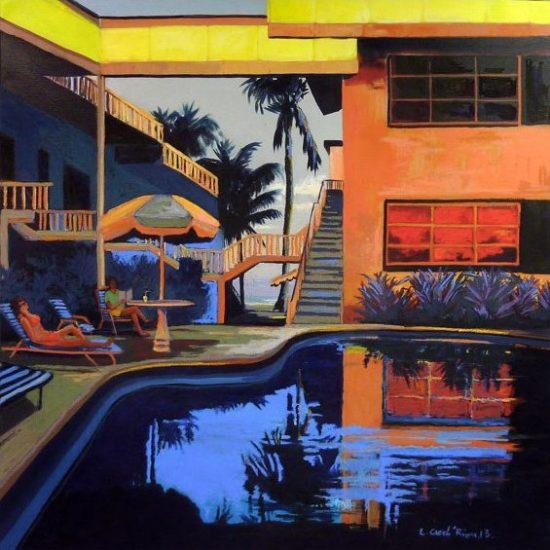 """""""Swimming pause"""" - Acrylique et pastel sur toile 100 cm x 100 cm"""