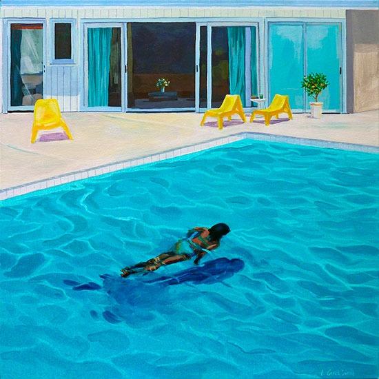 """""""Piscine 12""""- Acrylique sur toile – 50 cm x 50 cm"""