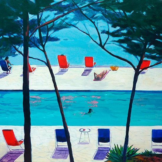 """""""Piscine 2""""- Acrylique sur toile – 50 cm x 50 cm"""