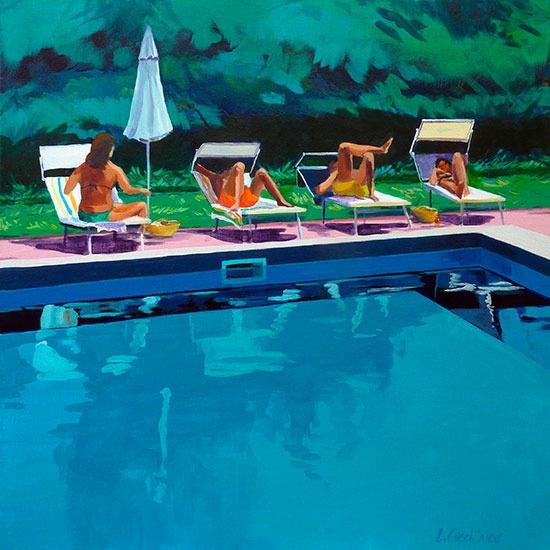"""""""Piscine 3""""- Acrylique sur toile – 50 cm x 50 cm"""
