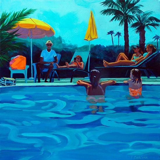 """""""Piscine 7""""- Acrylique sur toile – 50 cm x 50 cm"""