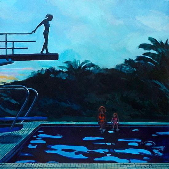 """""""Piscine 8""""- Acrylique sur toile – 50 cm x 50 cm"""