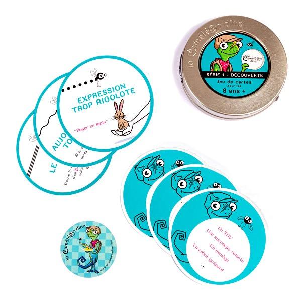 Étiquette boîte, cartes à jouer, magnet