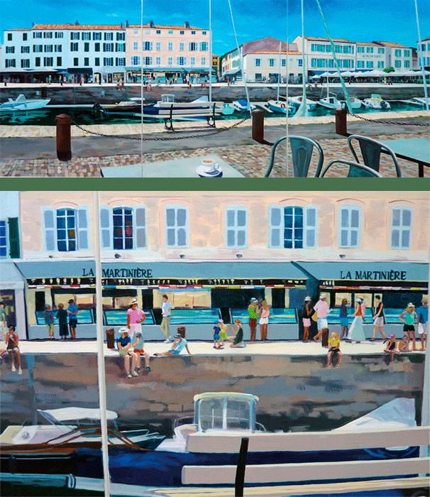 """""""Port de Saint-Martin-de-Ré"""" -  Triptyque - Acrylique sur toile – 100 cm x 240 cm. (Vue compète et détail)"""