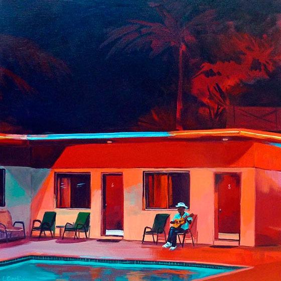 """""""Red Motel"""" - Acrylique sur toile – 50 cm x 50 cm"""