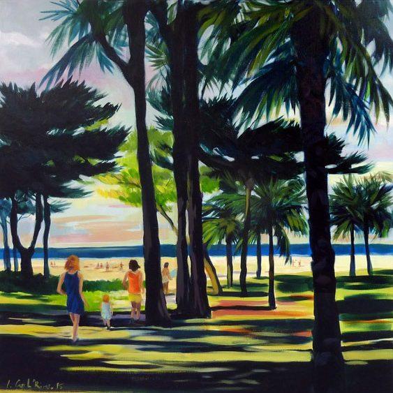 """""""Vers la plage"""" - Acrylique sur toile 80 cm x 80 cm"""
