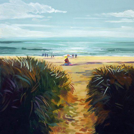 """""""Sarzeau La plage"""" - Acrylique sur bois 40 cm x 40 cm"""